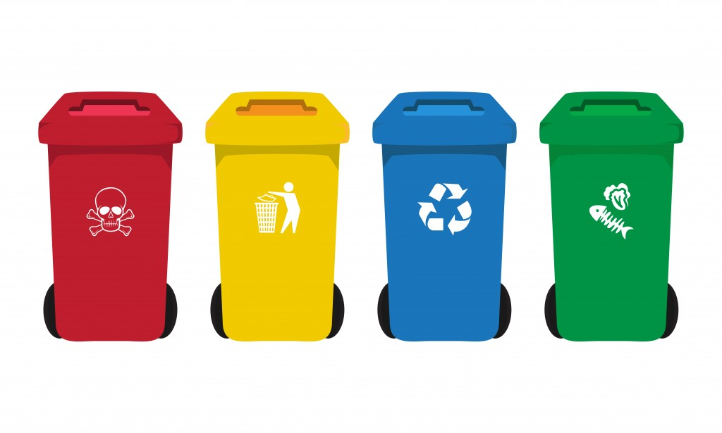 color bins set with waste icon