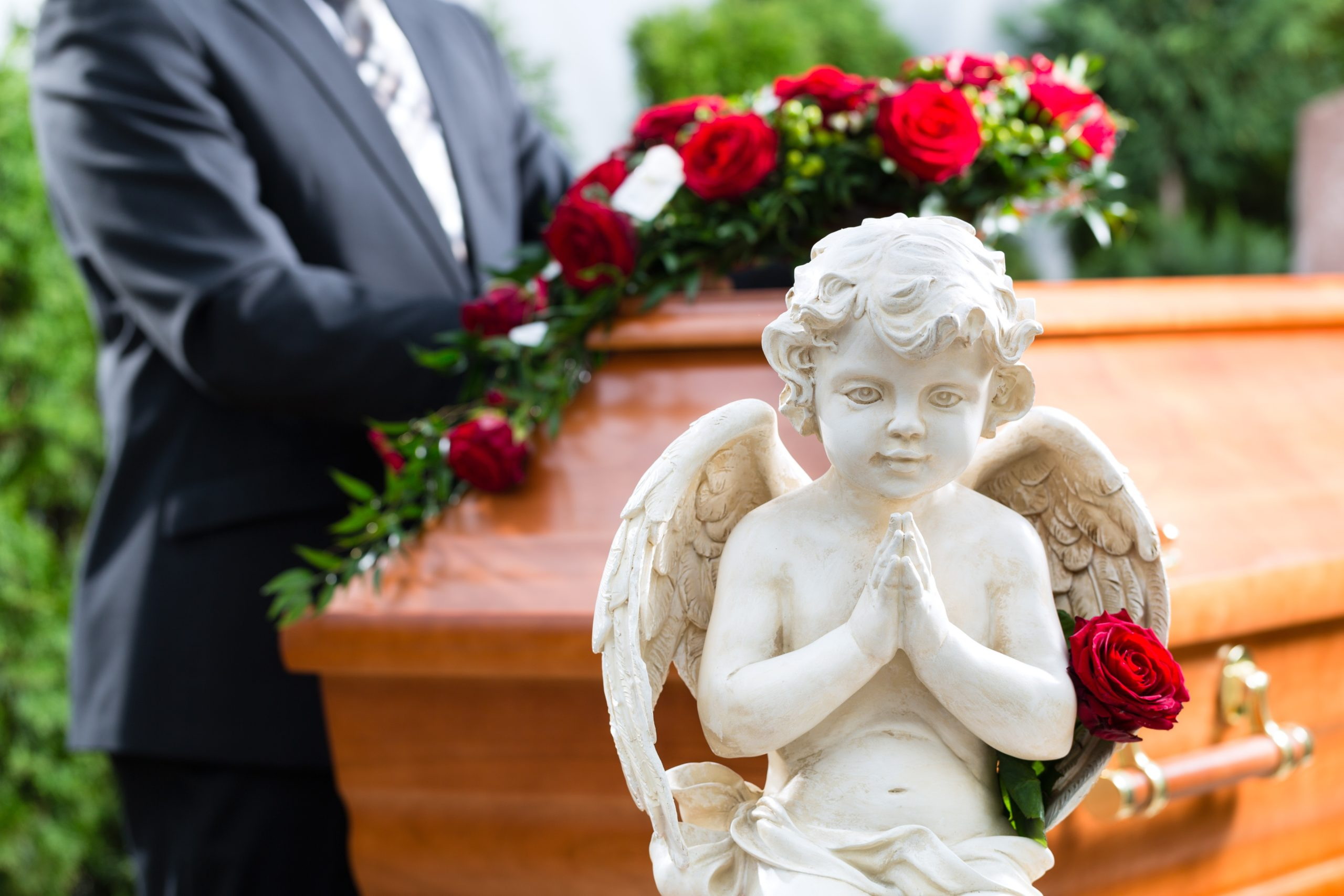 angel statue at a funeral