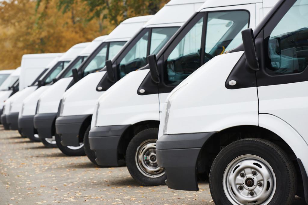 a line of vans